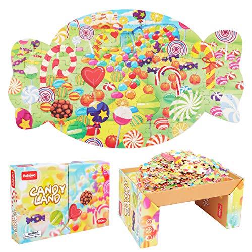 Puzzle ab 3 - JFIEEI Puzzle Kinder 3-8 Jahre, Puzzle in Süßigkeiten Form Lernen von pädagogischen Papp-Puzzles für Geburtstagsgeschenke Jungen Mädchen 20,75'' x 12,17''