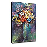 Leowefowas Vintage Style Flower Wall Art Framed Canvas Prints Flower Bouquet in Vase Oil Painting Contemporary Home Decor 18x24 Wall Poster Floral Wall Artwork Living Room Bedroom Canvas Picture
