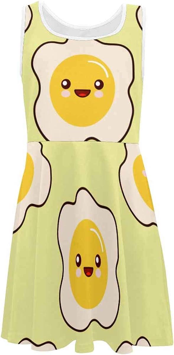 INTERESTPRINT Classic Girls A-Line Sleeveless Dress Summer Casual Dresses for 4-13 Years Fried Egg Faces Kawaii Cartoon L