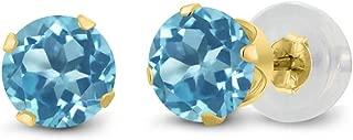 14K Yellow Gold Round Blue Topaz Women's Stud Earrings (1.20 cttw, 5MM)