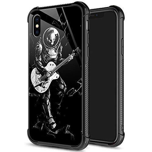 iPhone Xs Max Hülle, Skelett Astronaut spielt Gitarre iPhone Xs Max Hüllen für Mann, 9H gehärtetes Glas Rückseite + weiches Silikon TPU Stoß-Schutzhülle für Apple iPhone Xs MAX 6,5 Zoll