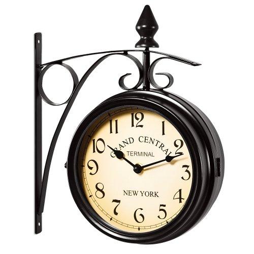 Deuba Bahnhofsuhr Doppelseitig Retro Vintage Stil Schmiedeeisern 2 Quarz Uhrwerke Ziffern Groß Wanduhr Bahnhofs Uhr – Schwarz