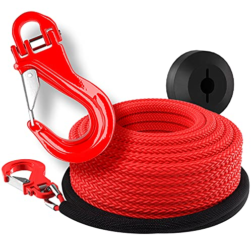 Miolle Pre-streched 1/4 Inch x 50 Feet 8200LBs (Lab Tested) Synthetic Winch Line Cable Rope with Most Advanced Hook, Rubber Stopper for 4x4 Off Road Vehicle ATV UTV (1/4x50, Rope, Hook, Stopper)