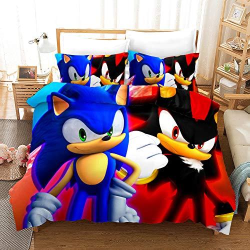 Set copripiumino per bambini, Sonic The Hedgehog 3D Cartoon stampato biancheria da letto in microfibra per ragazzi 2 pezzi tra cui 1 copripiumino, 1 federa (SNK04, singolo 135 x 200 cm)