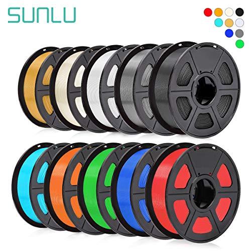 SUNLU PLA Filament 1.75mm for 3D Printer & 3D Pens, 10KG (22LBS) PLA 3D Filament Tolerance Accuracy +/- 0.02 mm, 1KG x 10 Colors