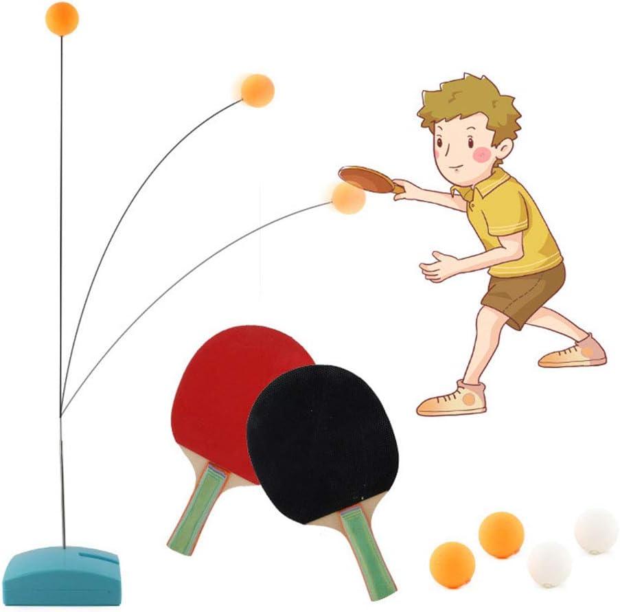 Weijl Entrenador de Tenis de Mesa, Mesa de Ping Pong Juego de Práctica con elástico de pozos y arquetas, Cabrito del niño Juegos al Aire Libre de Interior con 2 Raquetas y 4 Pelotas
