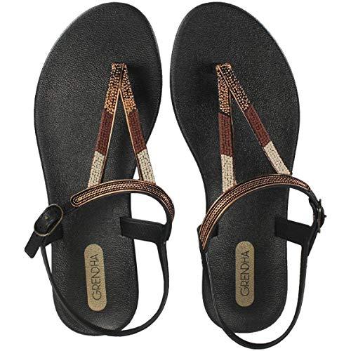Grendha Damen-Sandale mit Zehensteg, rustikal, Schwarz, Schwarz - Schwarz  - Größe: 40 EU