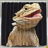 Mesllings Bath Curtain Bearded Dragon Lizards Shower Curtains - Polyester Fabric Bathroom Decor Set with Hooks - 48' X 72'