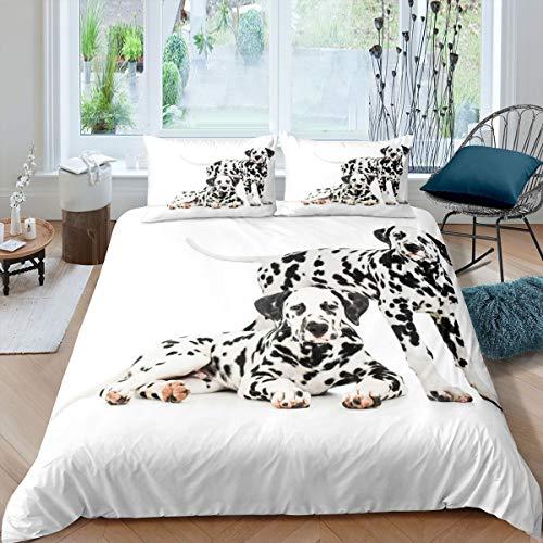 Homewish Juego de funda de edredón de tamaño king con diseño de animales, para niños y niñas, color negro y blanco