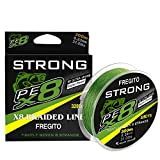 FREGITO 8 Strands Braided Fishing Line - Super Pull Zero Stretch Braided Lines - Abrasion Resistant - 100% Pe Fishing Line 328Yds - 20 LB to 52 LB
