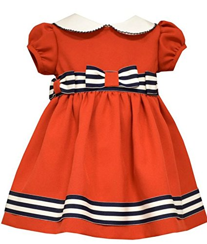 Product Image of the Bonnie Baby Baby Peter Pan Collar Nautical Dress and Panty Set, Red, 3-6 Months
