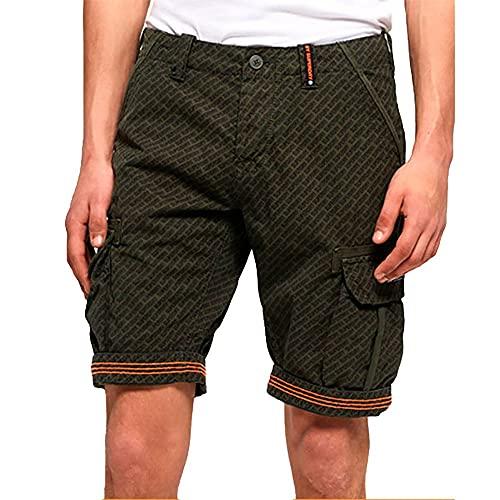 Superdry Herren Core Cargo Lite Shorts, Grün (Olive AOP Q2v), W(Herstellergröße: 30)