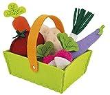Janod–Jouet en Bois–Assortiment légumes dans un panier légumes magasin feutre marché 8pièces–16x 12x 13cm, multicolore