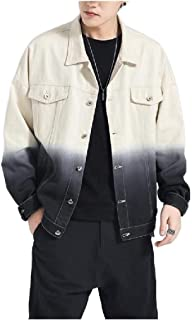 Howely Men Oversized Gradients Coat Jacket Loose-Fit Jean Jacket Coat
