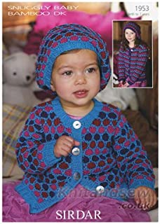 Sirdar Snuggly Baby Bamboo DK Childs Cardigan Pattern 1953 Birth - 7 years - D