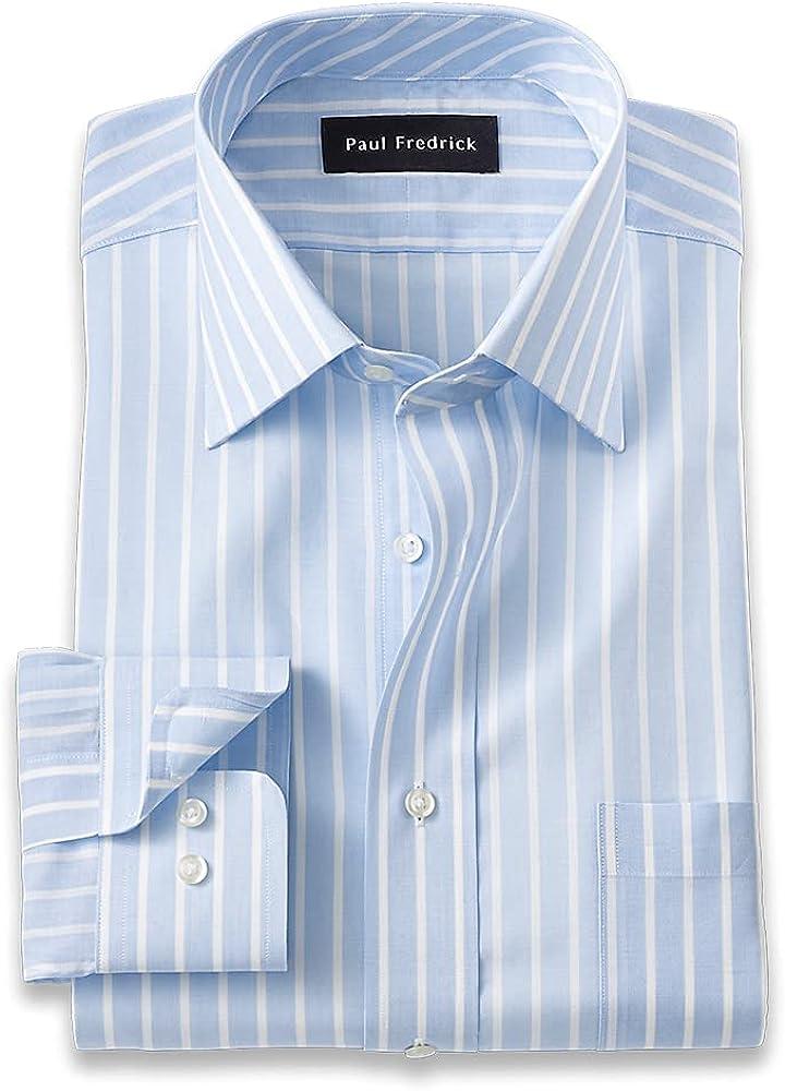Paul Fredrick Men's Classic Fit Pure Cotton Stripe Dress Shirt
