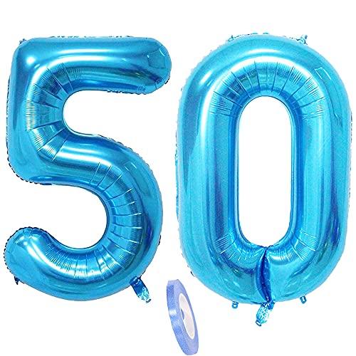 2 Numero di Palloncini 50, Numeri 50 Anni Compleanno Decorazioni Blu Maschio Uomo Donna ,XXXL 100cm blue Gigante giovani Foil Elio Palloncino Gonfiabile Balloons Happy Birthday Matrimonio Festa