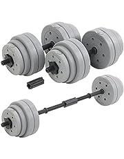 DTX Fitness Bilanciere regolabile a bilanciere da 30 kg con manubri bilancieri e pesi - argento
