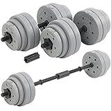 DTX Fitness 30kg verstellbare Kurzhantel/Langhantel zum Gewichtheben, mit Gewichtsset – Silber
