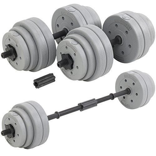 DTX Fitness 30Kg Adjustable Weight Lifting Dumbbell Barbell Bar and Weights Set - Silver