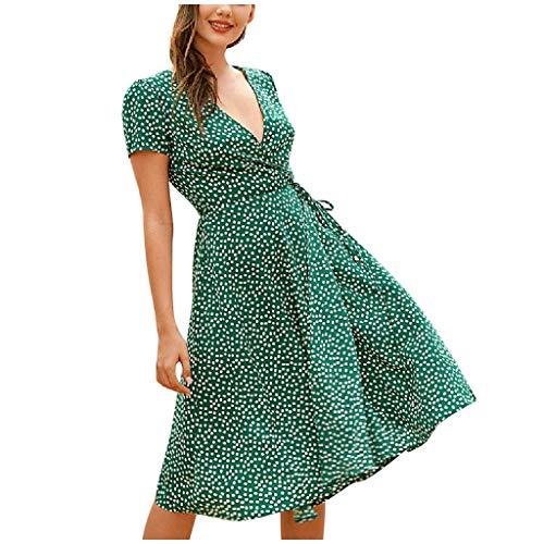 Damen Sommerkleid, Mode Elegant Sommer V Ausschnitt Kurzarm Allover Druck Minikleid Elegant A-Linie Blumen Strandkleider Partykleid Abend Dress