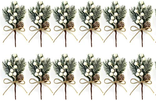 FENGLI 12 Pcs Christmas Realistic Snow Frost Pine Cone Berry Holly Flower Christmas Picks,With Holly Branches For Holiday Decorations And Wreaths Decor Christmas Display Decoration