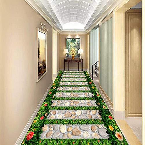 Papel pintado de PVC 3D Jardín Camino de piedra Azulejos 3D Piso Mural Papel tapiz Sala de estar Balcón Baño Etiqueta impermeable 3D Decoración para el hogar-400 * 300cm
