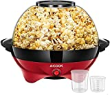 Popcorn Machine, AICOOK 6-Quart/24-Cup 800W Fast Heat-up Popcorn Popper Machine, Electric Hot Oil Butter Popcorn Maker with Stirring Rod, Nonstick Plate, Dishwasher Safe, Red