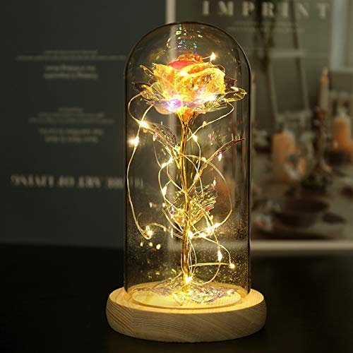 NAWEIDA Galaxy Rose Flower Gift Beauty and The Beast Rose in Glass Dome with Lights Infinity Crystal Rose Flower Enchanted Glass Rose for Women