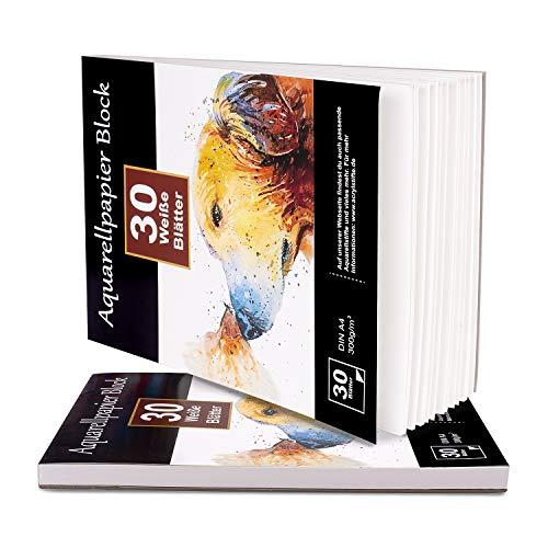 Aquarellpapier 300g DIN A4, 60 Blatt, 2er Pack je 30 Blatt, Weißer Block geleimt, Aquarell-Block Malblock Papier für Aquarell Stifte Zeichnen Malen, Wasserfarben Aquarelltechniken rauh weich matt
