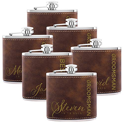 Personalized Flask For Wedding Groomsmen Gift, Customized Flask Set FREE Personalization - Laser Engraved - Design -6 (Leatherette, 6)