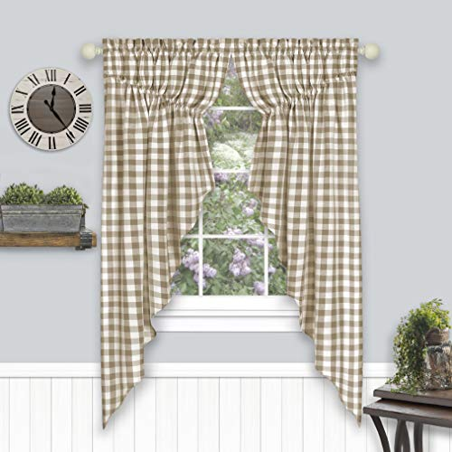 """Achim Home Furnishings Buffalo Check Gathered Swag Window Curtain Pair, 72"""" x 63"""", Taupe, Taupe & Ivory"""