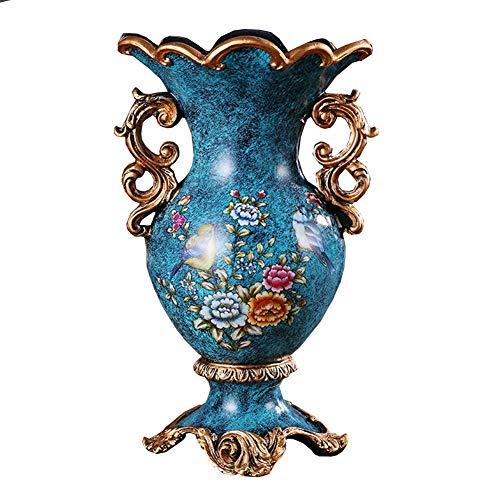 LXJ Amerikanische Retro-Vasen Harz Leben Esstisch und Büro-Center Hotel-Schlafzimmer-Haus Dekoration von Hand bemalt dekorative große Blaue Vase 29,5 × 18cm