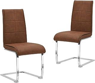 vidaXL 2X Sillas de Comedor Voladizas Asiento Mobiliario Muebles Cocina Salón Sala de Estar Escritorio Acolchado Respaldo Cuero Sintético Marrón