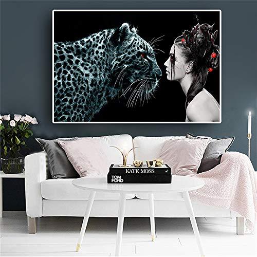 SADHAF Animal Luipaard met Meisje Poster en Print Noordse Moderne Stijl Woonkamer Decoratie Art Muurdecoratie 60x90cm (no frame) A5