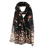 Langer Schal für Damen, warm, mit Blumenmuster, Vogel-Muster, bedruckte Seide, modisch, elegant und weich 180 * 90CM Schwarz