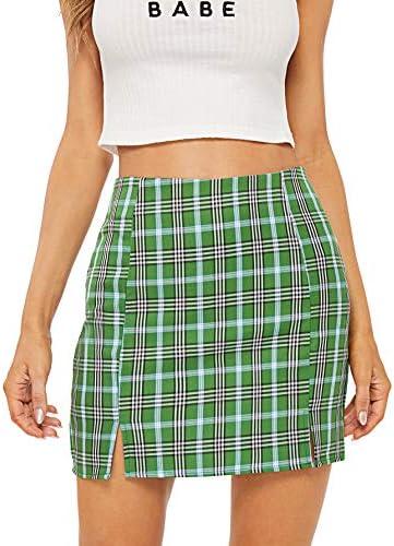 WDIRARA Women s Plaid Skirt High Waist Split Front Zip Up Mini Bodycon Skirt Light Green M product image