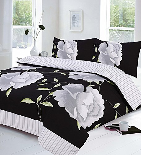 Voice 7 Rosaleen Black White Duvet Set - Flowery Quilt Cover with Two Matching Pillow Cases - Floral Prints on Poly Cotton Bedding (White/Black King Duvet Cover Set)
