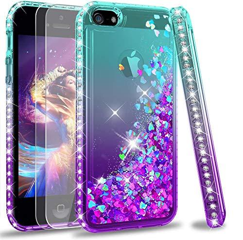LeYi Custodia iPhone 5S / iPhone SE/iPhone 5 / iPhone SE 2 Glitter Cover con Vetro Temperato [2 Pack],Brillantini Diamond Liquido Sabbie Mobili Bumper Case Custodie Donna ZX Turquoise Purple Gradient