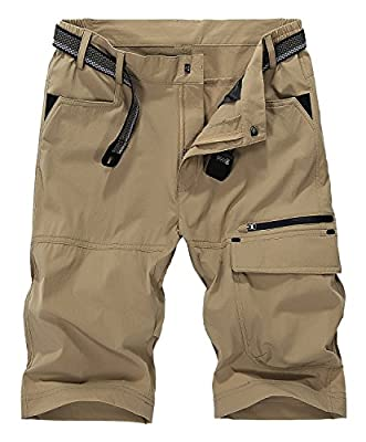Vcansion Men's Outdoor Lightweight Quick Dry Hiking Shorts Sports Casual Shorts Khaki US 30