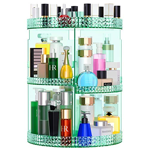 Awenia Makeup Organizer 360-Degree Rotating, Adjustable Makeup Storage, 7 Layers Large Capacity Cosmetic Storage Unit, Fits Different Types of Cosmetics and Accessories, Plus Size (Green)