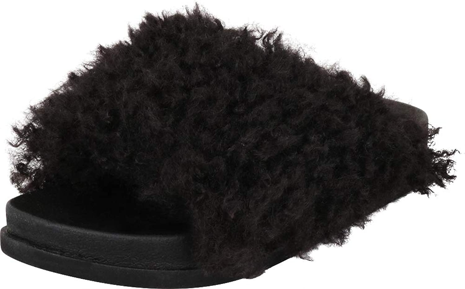 Cambridge Select Women's Open Toe Slip-On Flat Faux Fur Slide Sandal