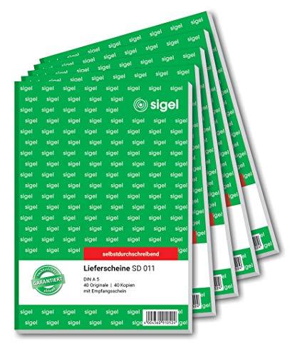 SIGEL SD011 Lieferscheine A5, 2x40 Blatt, selbstdurchschreibend, 5er Pack