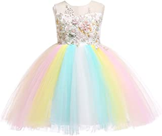 2-14T Rainbow Flower Girls Dress Tulle 3D Embroidery Princess Party Birthday Formal Dresses