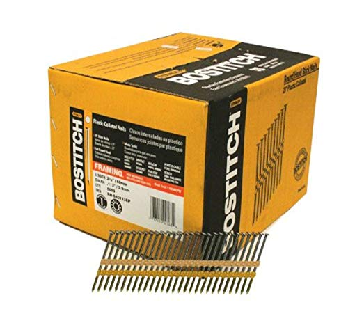 BOSTITCH Framing Nails, Round Head, 2-3/8-Inch x .113-Inch by 21 Degree Plastic Collated, 5,000-Pack (RH-S8D113EP)