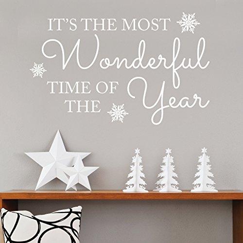 Dozili Kerstmis Het is de meest prachtige tijd van het jaar - Muursticker-muur Decal-Kerstmis Quote-Quote Muurstickers-Seasonal Stickers, 75cm X 47cm