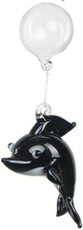 Black Floating Glass Aquarium Charm by Ganz Dolphin npmfzz3796-New