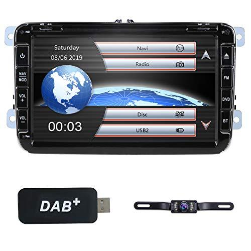 hizpo - Autoradio 8 pollici 2 DIN per VW Golf Passat Jetta Skoda Seat con sistema Wince, lettore DVD, navigatore GPS, radio FM, Bluetooth, USB, SD, 7 tasti, comando volante, 1080P, telecamera + DAB+