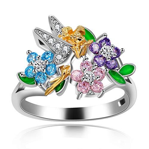 Uloveido Flor de Moda Floral Fairy Girls Anillos para Mujer Joyería de Aniversario chapada en Oro Blanco Anillos de Flores para niñas RA543