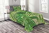 ABAKUHAUS Grünes Blatt Tagesdecke Set, Frischer Dschungel Aloha, Set mit Kissenbezug Sommerdecke, für Einselbetten 170 x 220 cm, Lindgrün Königsblau